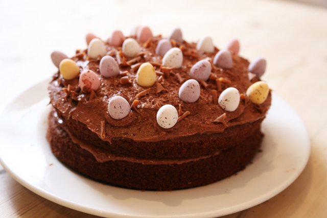Easter chocolate cake and biscuits