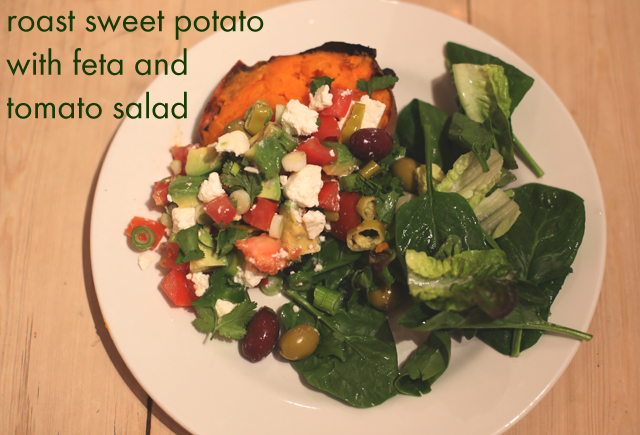 roast sweet potato with feta and avacado